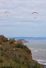 paragliders above Labrador Bay, Devon