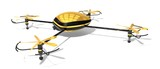 the golden drone. (quad copter.right-top view.) poster