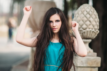The mysterious girl with long hair and a creative make-up