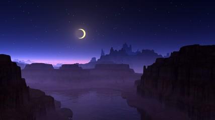 Shooting star, moon and mountain lake