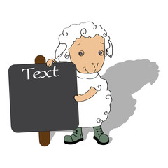 Sheep with board for text vector illustration