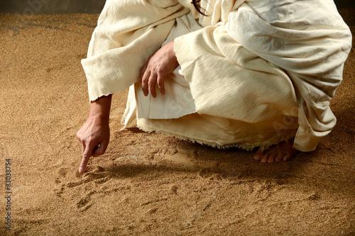 Zdjęcia na płótnie, fototapety, obrazy : Jesus Writing on the sand