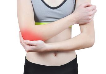 Girl having an elbow pain