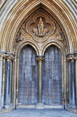 Entrance of Wells Cathedral closeup
