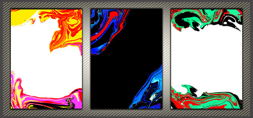 Abstract marble backgrounds set . Ink. Paint.
