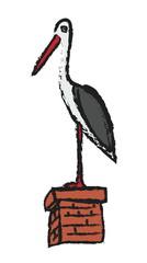 White storks on chimney