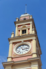 detail of tower of luz station in sao paulo, brazil. Inspired in