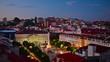 Lisbon, Portugal cityscape over Rossio Square at twilight.