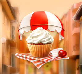 Cupcake and cherry, vector illustration