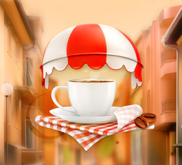 Cup of coffee, on street background