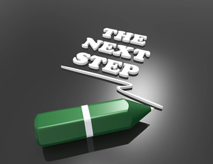 The Next Step 3d word concept with green pencil