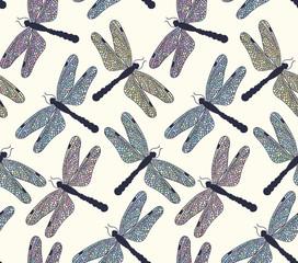 Hand drawn dragonflies seamless pattern