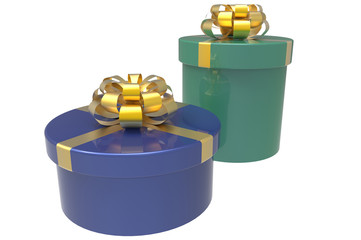 two gift boxes in blue and green