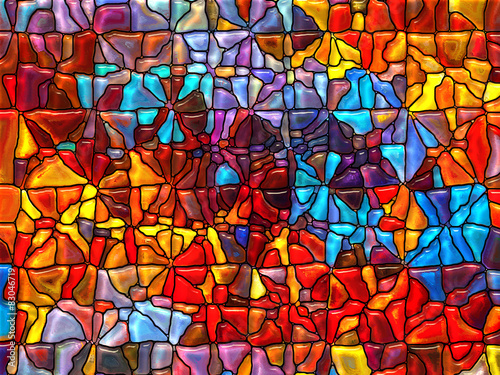 Foto Spatwand Glas In Lood Stained Glass Abstraction