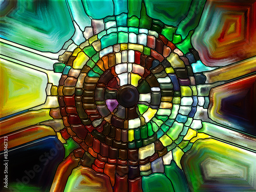Foto Spatwand Glas In Lood Colorful Stained Glass