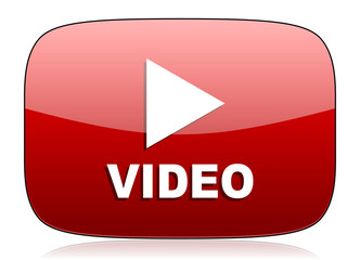 video red glossy web icon