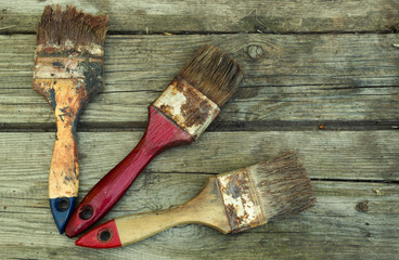 old brush on the wooden boards
