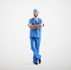 smiley man in blue scrubs