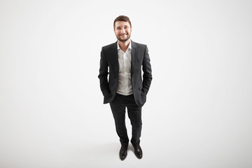 view from above of smiley businessman