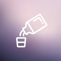 Medicine and measuring cup thin line icon