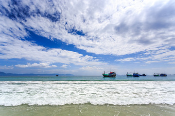 Local Boats At Morning in Doc Let beach, Vietnam