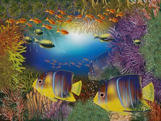 Underwater wallpaper, vector illustration