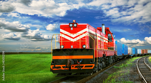 obraz PCV freight train with space for text