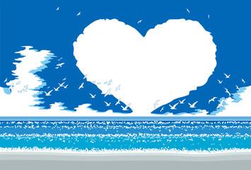 昼間の夏の海,ハートの雲