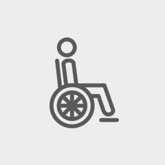 Disabled person thin line icon