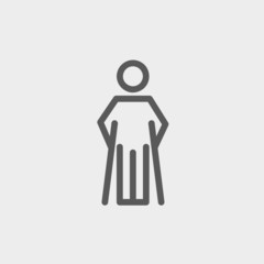 Injured man with crutches thin line icon