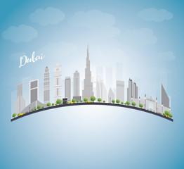 Dubai City skyline with grey skyscrapers, blue sky