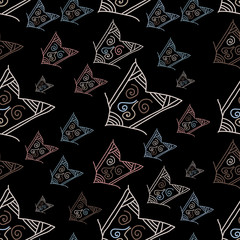 Seamless pattern with hand-drawn arrows on black background
