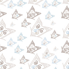 Seamless pattern with hand-drawn arrows. Vector illustration