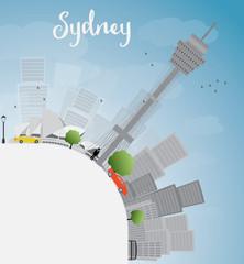 Sydney City skyline with blue sky, skyscrapers and copy space
