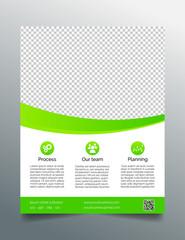 Business flyer template - modern design in bright green