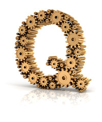 Alphabet Q formed by gears