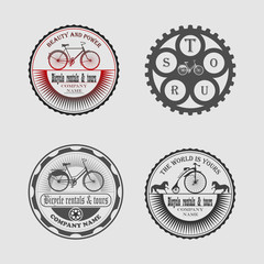 set of labels bicycle, icons, stickers and tools for designers