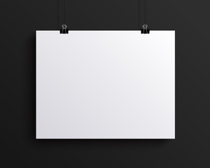 White blank horizontal sheet of paper, vector mock-up