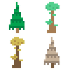 illustration pixel art icon tree