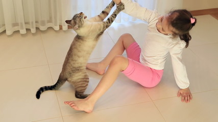 Little girl having fun playing with cat.