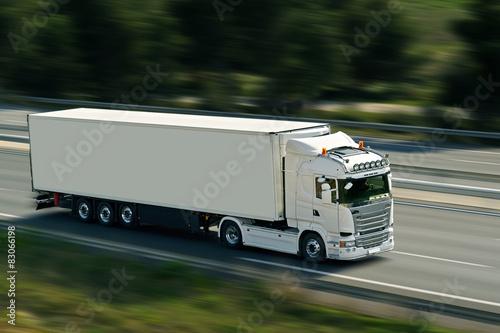 Plakat semi truck on road