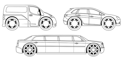 Coloring book: stylized cars set