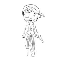 Cloloring book: Pirate cartoon character