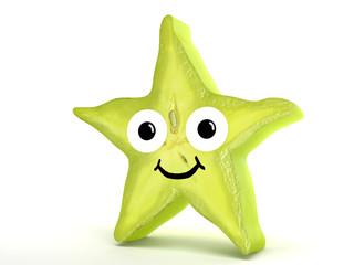 Sternfrucht mit Gesicht einzeln