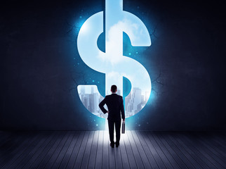 Businessman in front of a decision
