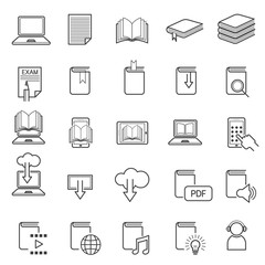 School Online, E-Learning, E-Book, Book Line Icons Set