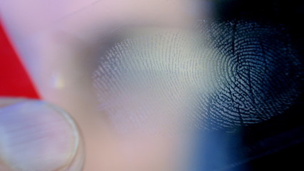 Investigator examines the evidence taken from a fingerprint