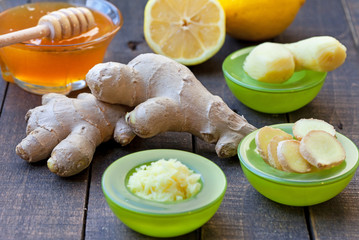 Ginger,  lemon and honey on rustic wooden table