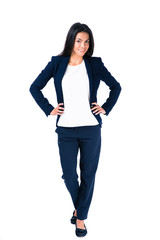 Happy businesswoman posing over white background