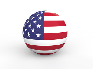 3d sphere with american flag
